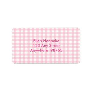 Pink Gingham Address Label