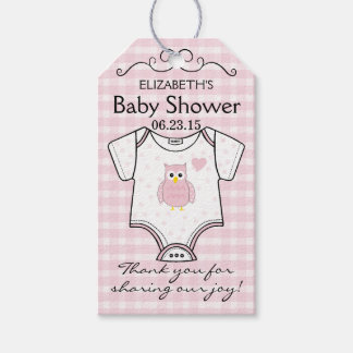 Pink Gingham and Owl Baby Shower Guest Favor Gift Tags