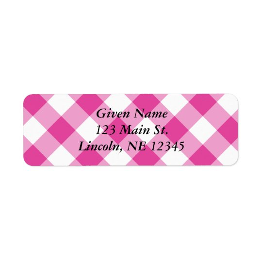 Pink Gingham Avery Label