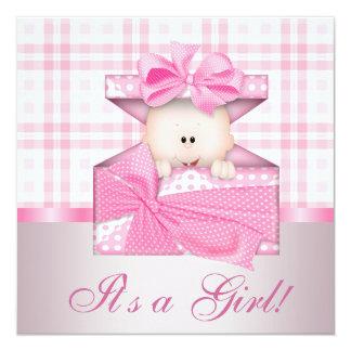 Pink Gingham Baby Girl Shower Invitations