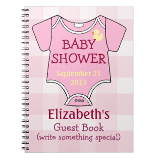 Pink Gingham Baby Outfit Shower Guestbook Notebook