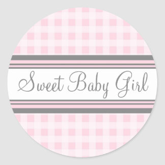 Pink Gingham Baby Shower Favour Stickers