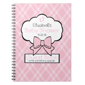 Pink Gingham Baby Shower Guest Book- Notebook