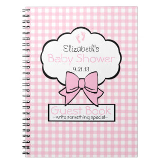 Pink Gingham Baby Shower Guest Book- Notebooks