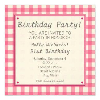 Pink Gingham Birthday Party Invitation