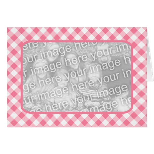 Pink Gingham Blank Photo Card