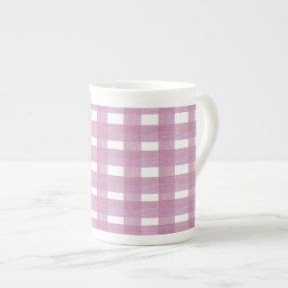 Pink Gingham Bone China Mug