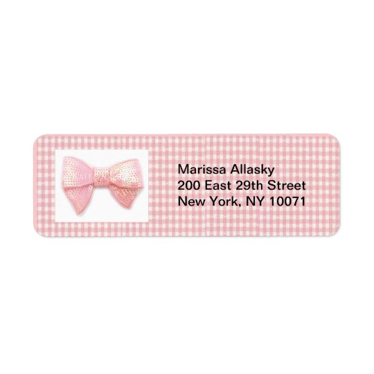 Pink Gingham Bow Return Address Label