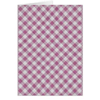 Pink Gingham Check - Diagonal Pattern Greeting Card