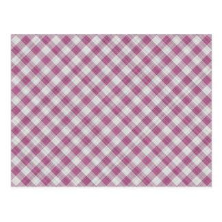 Pink Gingham Check - Diagonal Pattern Postcard