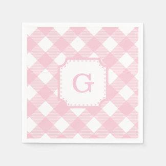 Pink Gingham Checkered Pattern Paper Napkin