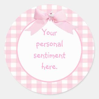 Pink Gingham Classic Round Sticker