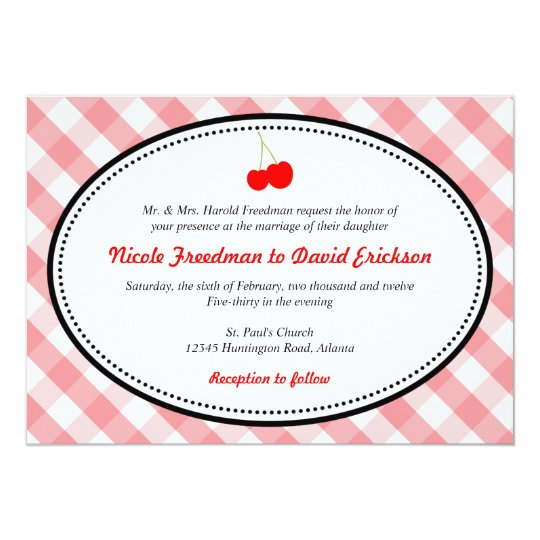 Pink gingham country rustic red cherry wedding card