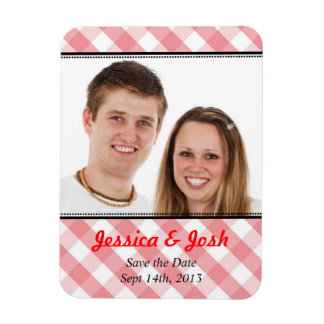 Pink gingham country rustic wedding save the date rectangular photo magnet