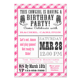 Pink Gingham Cowgirl Birthday Invitation