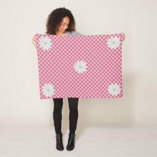 Pink Gingham Daisy Fleece Blanket