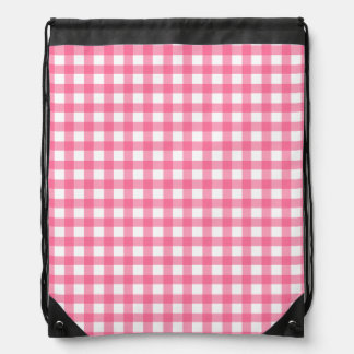 Pink Gingham Drawstring Backpack