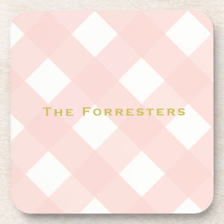Pink Gingham Drink Coasters (6)