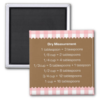Pink gingham dry measure chart kitchen helper square magnet