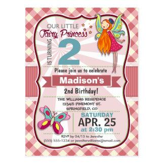 Pink Gingham Fairy Princess Birthday Party Postcard