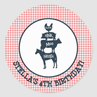 Pink Gingham Farm Theme Animal Girl Birthday Classic Round Sticker