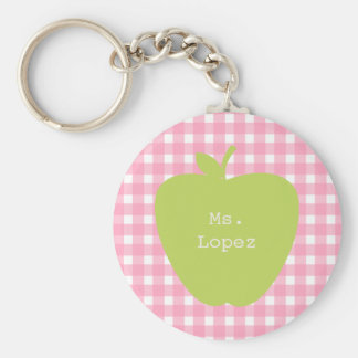 Pink Gingham & Green Apple Teacher Basic Round Button Key Ring