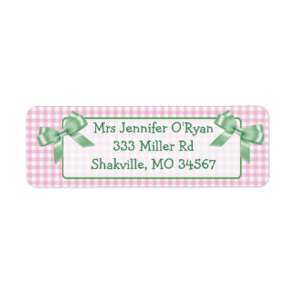 Pink Gingham Green Bow Return Address Label