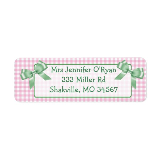 Pink Gingham Green Bow Return Address Label