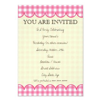 Pink Gingham Invitation
