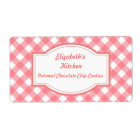 Pink Gingham Kitchen Labels