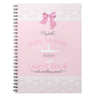 Pink Gingham Lace Image Baby Shower Guest Book |