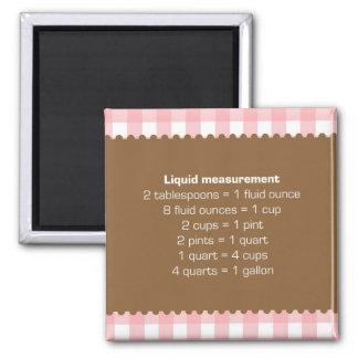 Pink gingham liquid measure chart kitchen helper square magnet