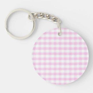 Pink Gingham Pattern Key Ring