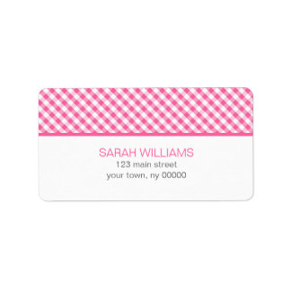 Pink Gingham Pattern Label