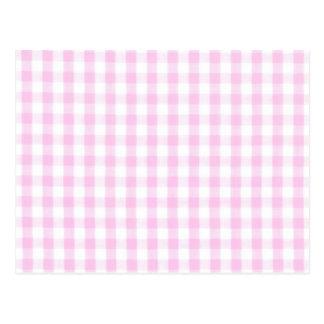 Pink Gingham Pattern Postcards