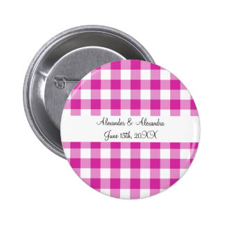 Pink gingham pattern wedding favors pinback buttons