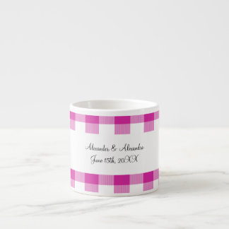 Pink gingham pattern wedding favors espresso mugs