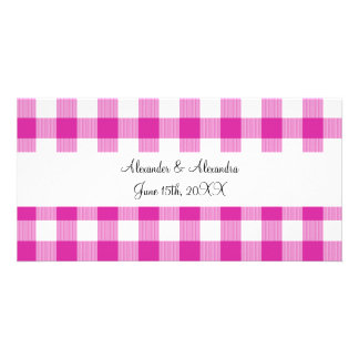 Pink gingham pattern wedding favors customized photo card