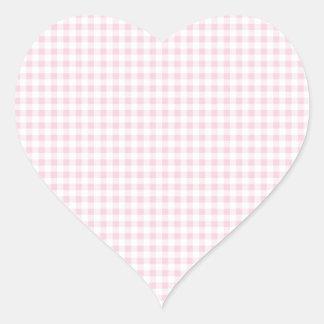 Pink Gingham Plaid Heart Sticker