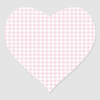 Pink Gingham Plaid Heart Stickers