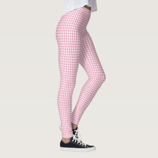 Pink Gingham Plaid Pattern Leggings