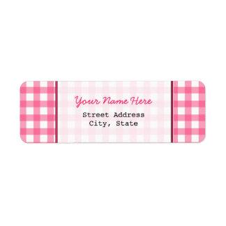 Pink Gingham Return Address Label