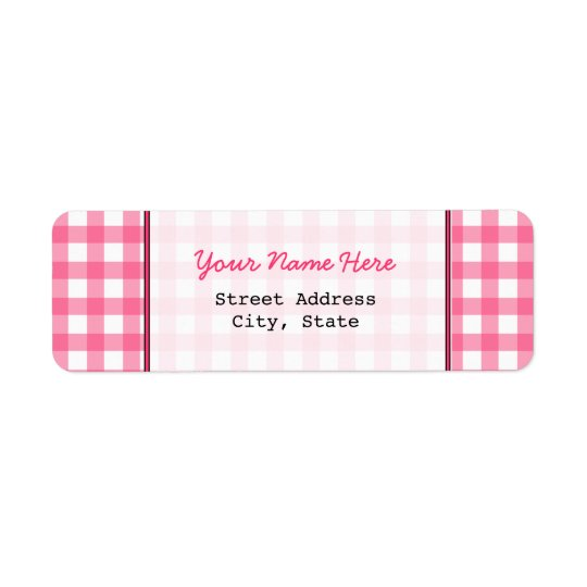 Pink Gingham Return Address Label