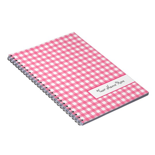 Pink Gingham Spiral Personalised Notebook