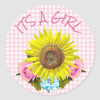 Pink Gingham Sunflower BABY SHOWER  Stickers