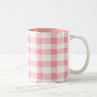 Pink Gingham Two-Tone Coffee Mug
