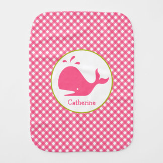 Pink Gingham + Whale Burp Cloth