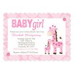 Pink Giraffe Baby Girl Scalloped 5x7 Invitation