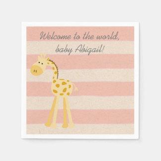 Pink Giraffe Baby Girl Shower Paper Napkins