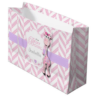 Pink Giraffe Baby Shower Large Gift Bag
